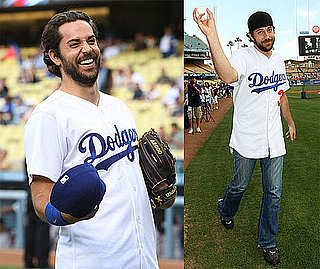 Photos of Zachary Levi Throwing Out the First Pitch For the Dodgers With Taylor Lautner