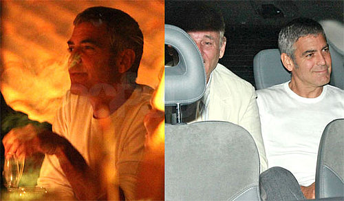 Photos of George Clooney, Bill Murray, Nick Clooney, Nina Clooney at Dinner in Italy
