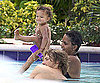 Slide Photo of Nahla Aubry, Gabriel Aubry, Halle Berry in the Pool in South Beach