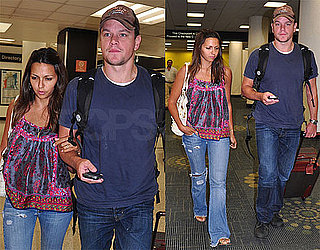 Photos of Matt Damon and Luciana at Miami Airport Back from NYC