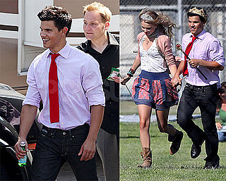 Photos of Taylor Lautner and Taylor Swift With Crowns, Emma Roberts on the Set of Valentine's Day