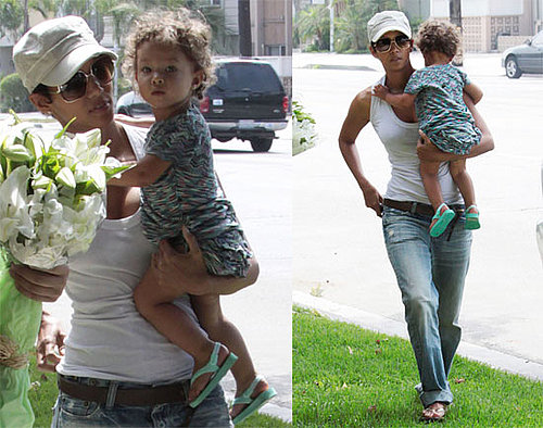 Photos of Halle Berry and Nahla Aubry Bringing Flowers to Friends House in LA