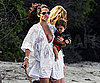 Slide Photo of Pregnant Camila Alves in a Bikini Holding Levi McConaughy in Malibu