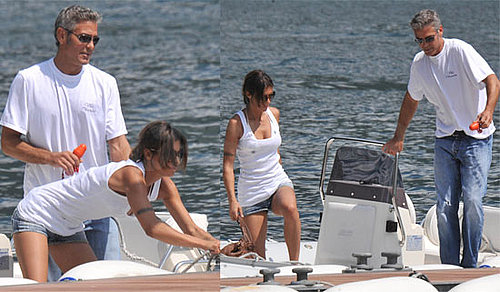 Photos of George Clooney and Elisabetta Canalis on Boat in Lake Como