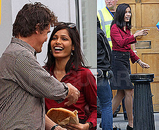 Photos of Freido Pinto and Josh Brolin Working On Woody Allen Movie in London