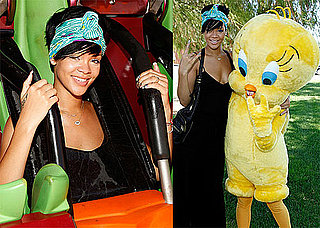 Photos of Rihanna at Six Flags; Chris Brown Claims Larry King Interview Edited and Untrue