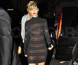 Slide Photo of Rihanna Wearing See Through Dress at Paris Fashion Week