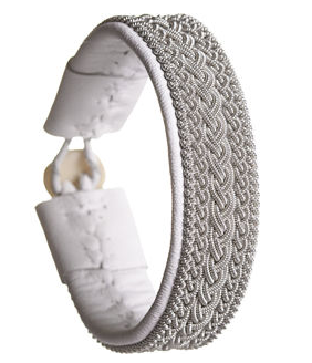 Maria Rudman Rambali Pewter White Leather Bracelet