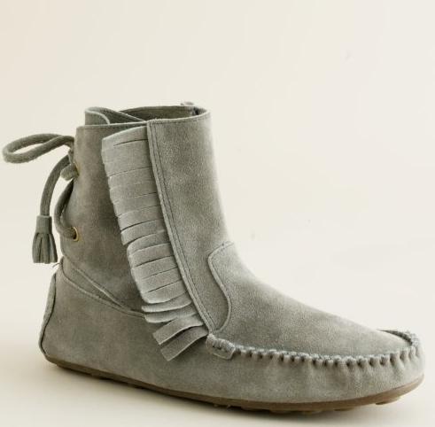 I already have a pair of black moccasins, this Gray Sienna Fringe Bootie, ($88) is just what the fashion doctor ordered.