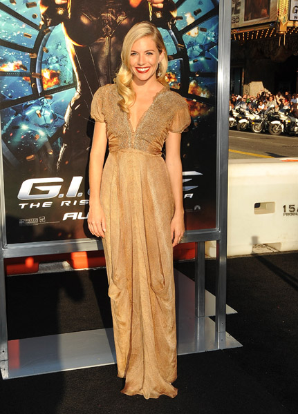 Sienna saved the best for last, wearing a shimmering gold gown from Yves Saint Laurent at the LA premiere of her movie.