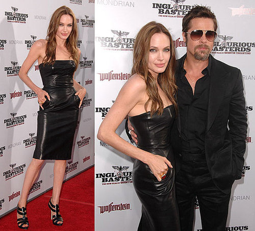 Angelina Jolie Attends Inglourious Basterds Premiere in LA in Black Leather Dress