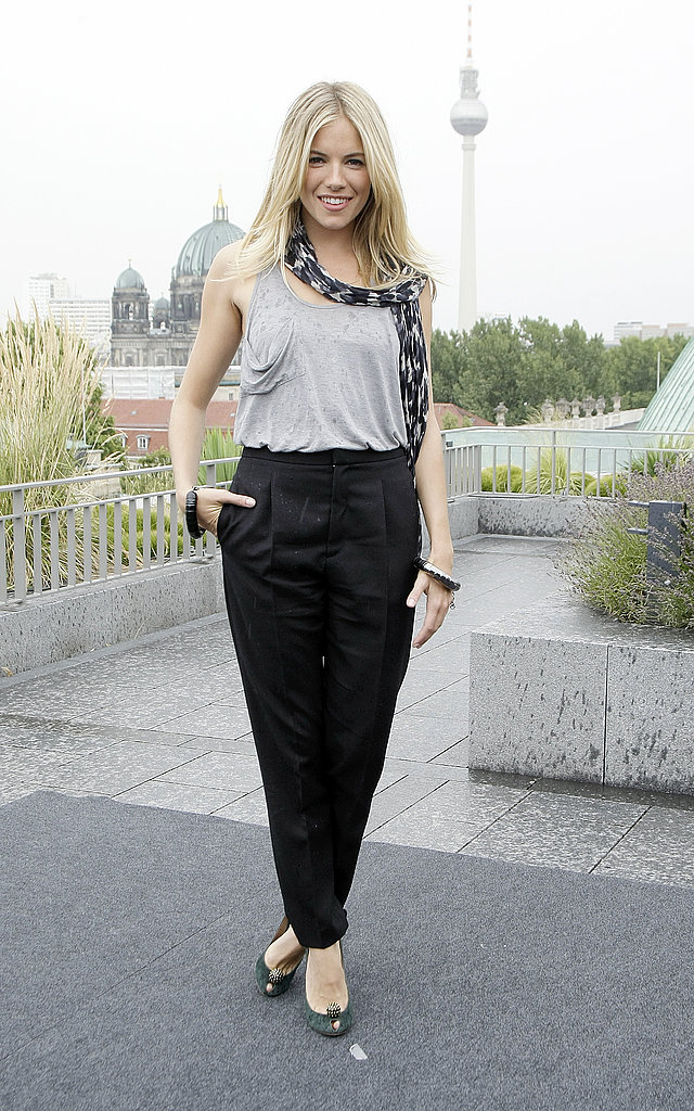 A little rain in Berlin didn't stop Sienna from smiling for the camera. Her Kain tank and  Dries van Noten cropped trousers were all about cool, modern simplicity.