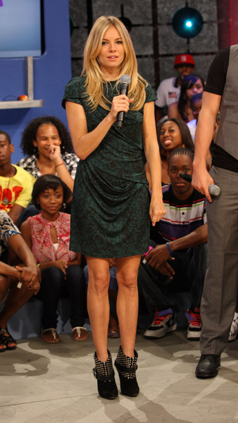 Sienna rocked it at 106 & Park in a printed Peter Pilotto confection and Isabel Marant booties.