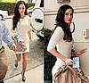 Actress Megan Fox in LA Wearing Ivory Knit Dress, Red Lipstick, and Yves Saint Laurent Platforms