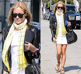 Photo of Kristin Cavallari Wearing White Dress and Leather Jacket in LA