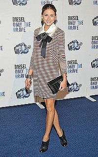 Olivia Palermo Attends NYC Event Wearing White and Red Striped Dress With Ribbon Collar