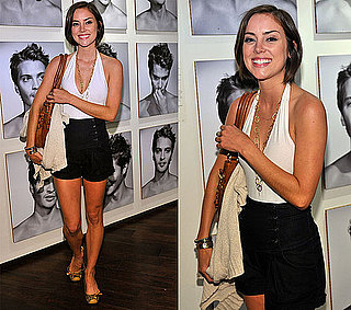 Jessica Stroup Attends an LA Party Wearing a White Halter Top and High-Waisted Black Shorts