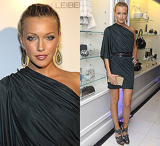 Photo of Katie Cassidy Wearing One Shoulder Dress at Judith Leiber Opening in LA
