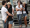 Photo of Jessica Szohr in Ripped Shorts and Blazer With Ed Westwick  in NYC