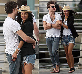 Photo of Jessica Szohr in Ripped Shorts and Blazer With Ed Westwick  in NYC 2009-10-01 11:30:22
