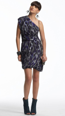 Rachel Rachel Roy Purple Leopard Printed One-Shoulder Dress