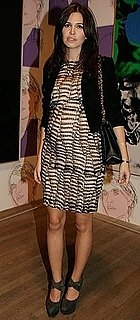 Pop Magazine Editor Dasha Khukova Attends Pop Life: Art in a Material World in London in Printed Dress