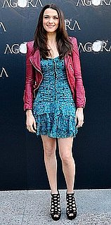 Actress Rachel Weisz Attends Agora Madrid Photocall in Blue Floral Dress and Berry Leather Jacket 2009-10-07 14:00:22