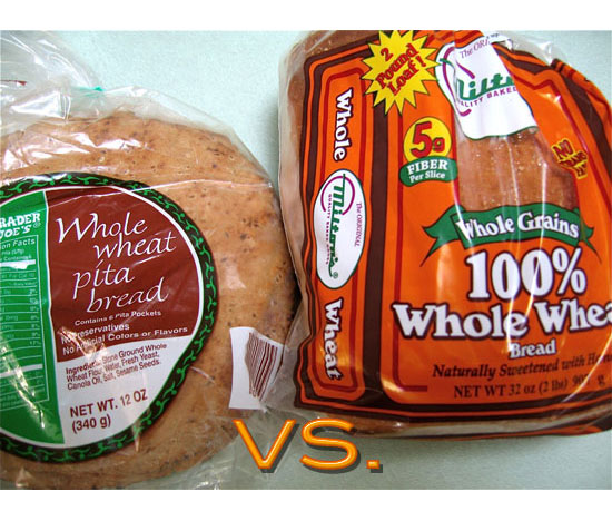 Whole Wheat Pita vs. Whole Wheat Bread