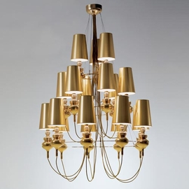 The Josephine Queen Chandelier ($33,852) has the same gold bling as the Bond chandelier, but adopts a more modern silhouette.