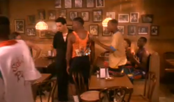 Do the Right Thing was one of my favorite films of the '90s, portraying the complicated race relations in the Bedford-Stuyvesant section of Brooklyn. In this shot, from Sal's Pizzeria, I love the crowded wall of photographs, as well as the bentwood chairs.Source