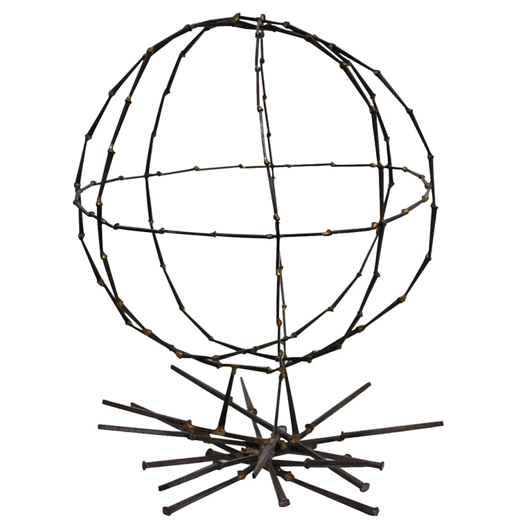 Try this Primitive Globe Sculpture ($300) in your next garden. It would be a great place for vining morning glories.