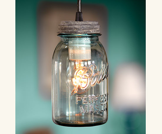 Napa Style sells these Antique Mason Jar Lights ($199-379), but you can also make your own.