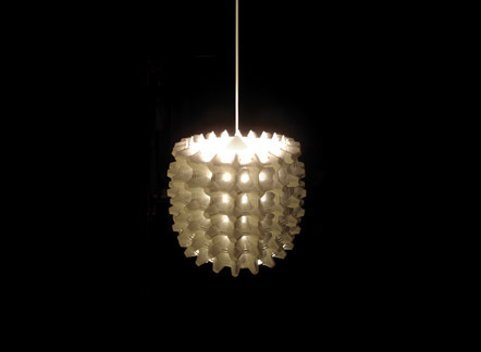Otero Design Studio built this fun chandelier from egg cartons.
