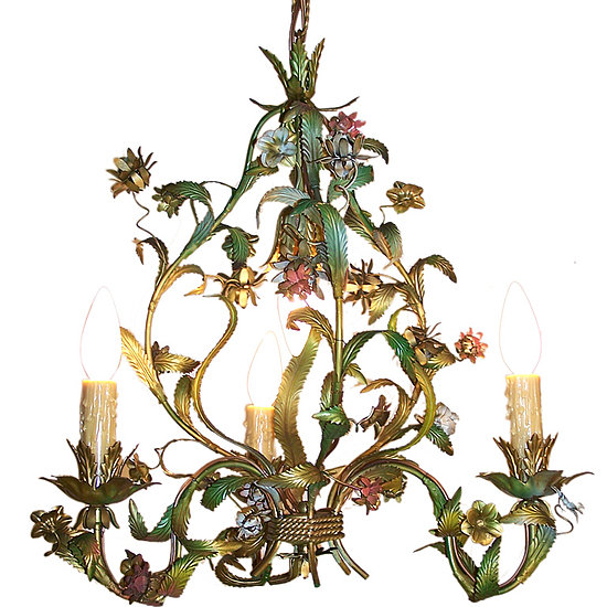 This French Midcentury Chandelier ($1,885) embodies the same floral femininity in a similar palette.