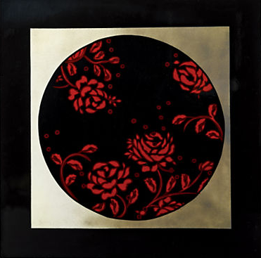 This Red Rose Frame Lacquer Plaque ($18.99) is a close match to Peggy's dress.