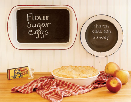 Country Living suggests using enamel bakeware for small blackboard surfaces. Perfect for fun quotes or simple list making.