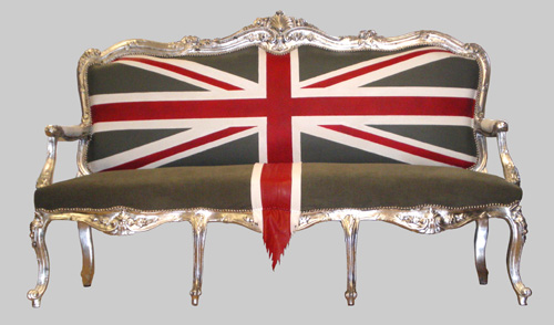 Jimmie Martin does it again with this great Union Jack sofa. It looks like it's waiting to be bought by a London-based rock star.