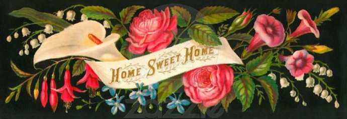 This Home Sweet Home banner ($12-$267) overflows with calla lilies, red roses, pink trumpeter flowers, and lilies of the valley, and can be printed in a range of sizes.