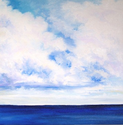 "Skip the DIY work and order this Ocean Clouds Sky Horizon Seascape ($60) by artist Debra Alouise. Or, head to Etsy and search for ""abstract ocean painting"" for more choices."