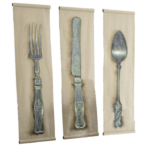 Love to decorate with silverware? Then hang this Wisteria Flatware wall art ($499).
