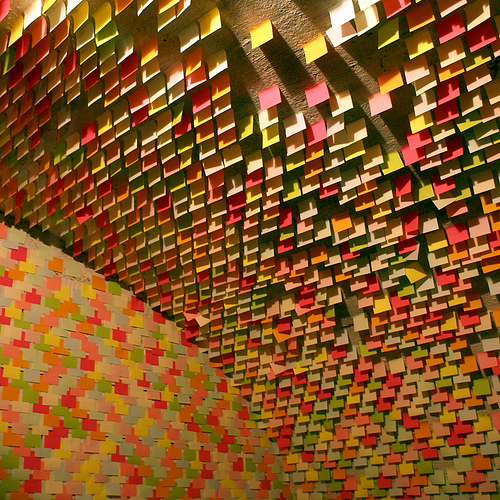 In 2008, as part of an installation in Austria called Alzheimer Phase III, Croatian artist Kruno Stipešević plastered the walls and ceilings with Post-Its, as well as furniture which was suspended in the air. Source: Flickr User tschörda