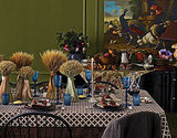 Use sheaves of wheat, displayed in multiple vases, for a gorgeous harvest table.  Source