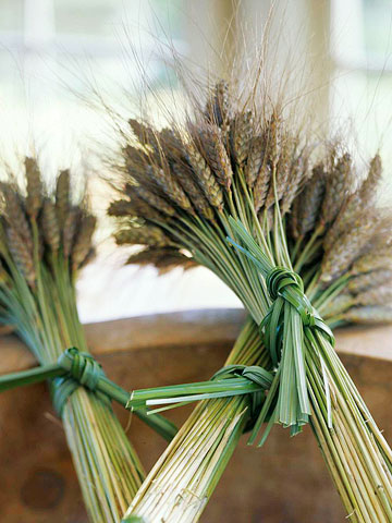Tie wheat sheaves with natural fibers, or, to dress up the look, use satin ribbon in a contrasting color.  Source