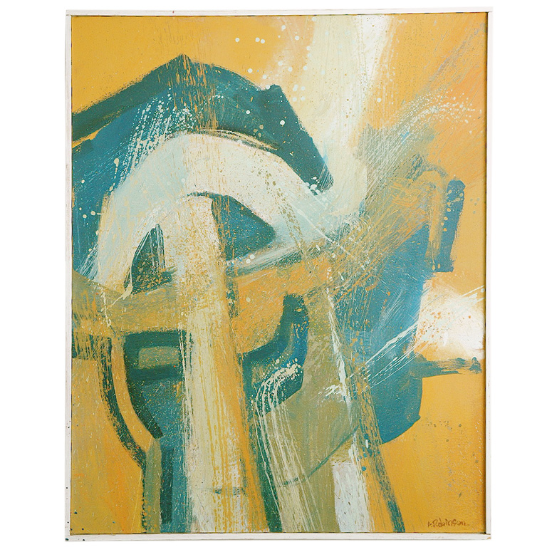 """Inner Symbol"" ($3800), a midcentury oil painting by artist Alan Robinson, captures the same feel as the conference room painting."