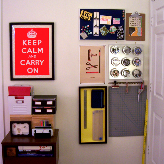 It's a secret craft area! Since she didn't have room for a craft desk anymore, she stores all of her supplies out of sight behind this door.