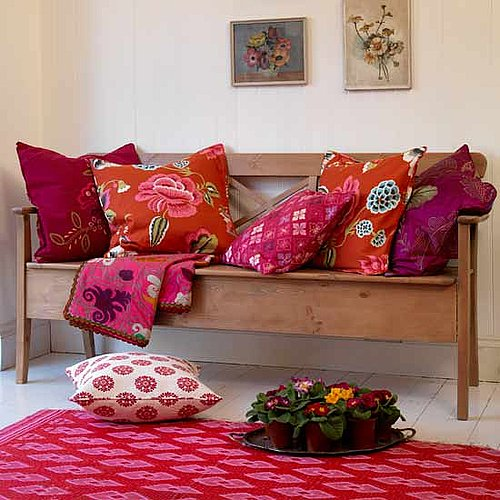 Get the Look: Folksy Red Cushion Room