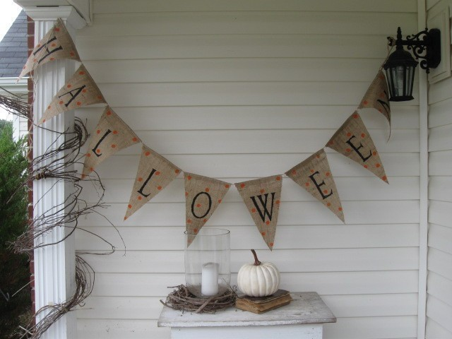 This Halloween Glitter Burlap Bunting Banner ($20) is hand-made and hand-painted. Very understated and sophisticated.