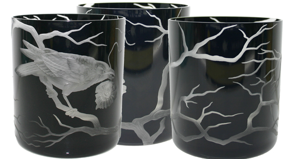 These Raven Glasses ($298) have a luxe black finish, and are crafted from hand-blown crystal.