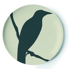 Thomas Paul's Gothic Plate ($28) is made from melamine, so it won't shatter if you drop it when you see a raven land in your library.