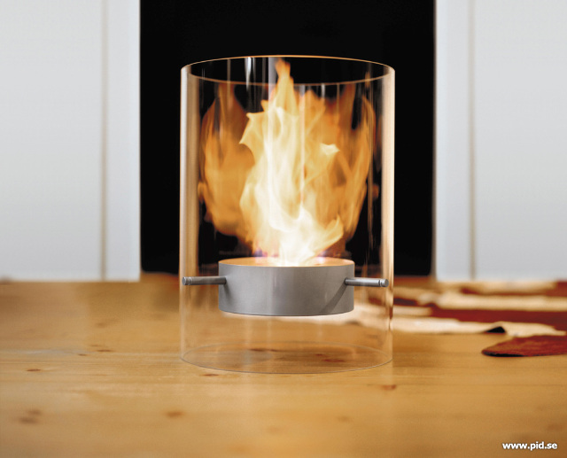 The Ponton Fireplace ($931) has a glass cylinder body and is fueled with standard or bio alcohol and ethanol.